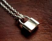 Tiny padlock necklace sterling silver - Bound