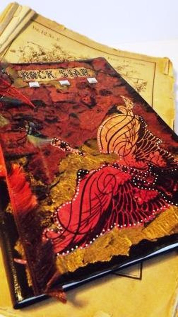"""July 2012-December 2013 Academic Weekly Planner and Art Piece: """"Rock Star"""" Approx. 7 x 4.25"""""""
