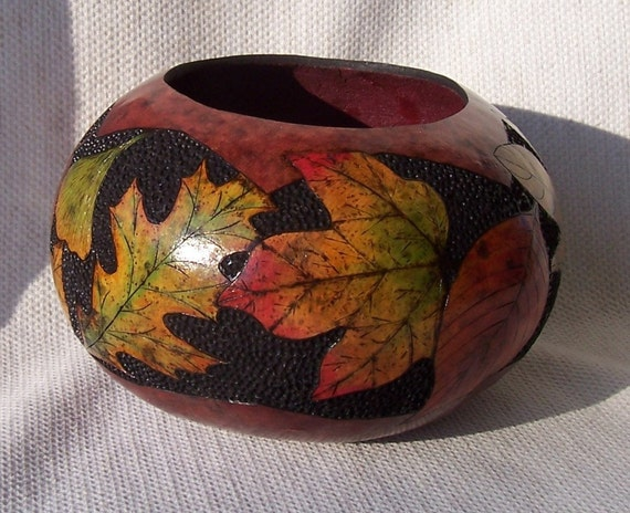 Large gourd bowl with wood burned and ink dyed fall leaves and dyed dot carved background. 1566.