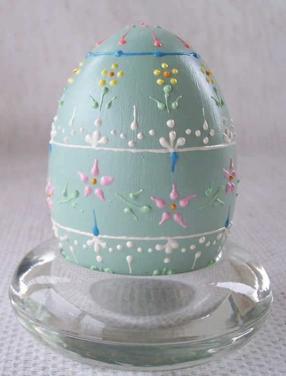 Pastel mint green ceramic bisque egg with raised dots and lines all over floral pattern-153.