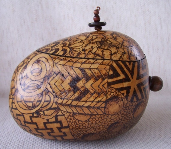 Medium natural apple gourd box all over wood burn zentangle design.  1581.