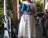vintage cream long sleeve wool/poly blend dress size L/XL