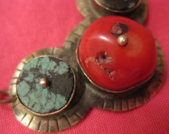 3 stones of turquoise and red coral necklace