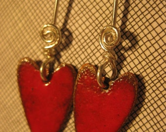 Red Enamel Heart Earrings 3