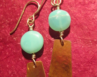 Copper dangle earrings with sky blue stone and silver ear wire