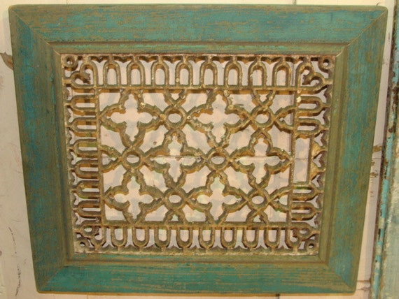 Antique Reclaimed Rustic Wood Frame with Cast Iron Air Grate Register in ORIGINAL PAINT SURFACE