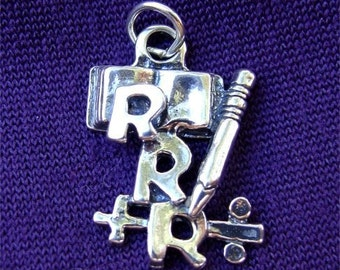 3 Rs Teacher CHARM in STERLING SILVER