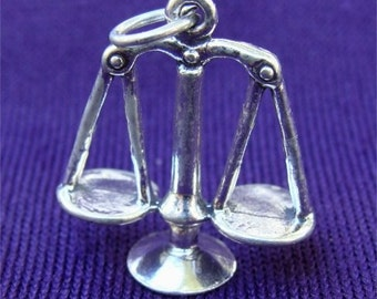 Scales of Justice 3D LAWYER CHARM or LIBRA Zodiac in Sterling Silver