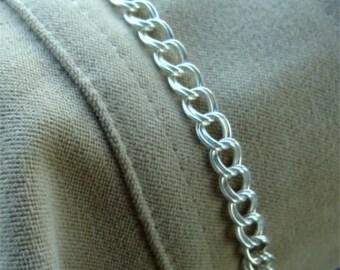Size 7 inch Double Link 070 CHARM Bracelet in STERLING Silver