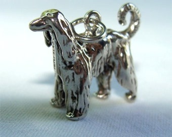 AFGHAN Hound Dog Charm in STERLING Silver