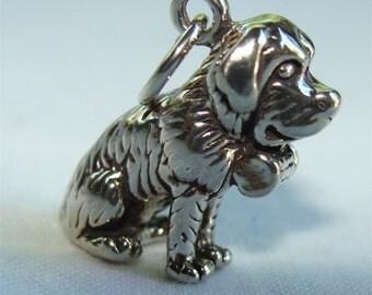 St. Bernard Dog 3 d CHARM in STERLING Silver