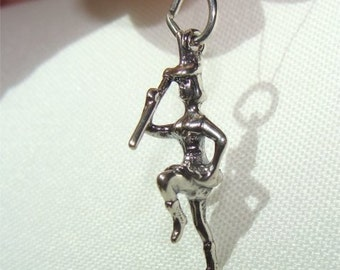 Drill Team or Drum MAJORETTE Charm in STERLING Silver