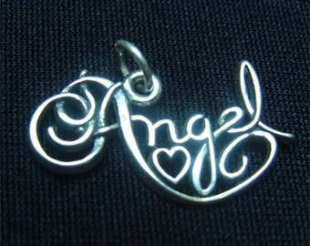 Valentine ANGEL Sweetheart Sterling SILVER Word Charm