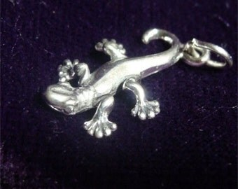 GECKO Lizard Charm of STERLING Silver and with FREE Shipping