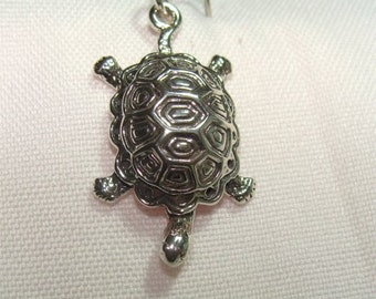 Box TURTLE Charm Pendant in STERLING Silver