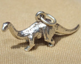 Brontosaurus DINOSAUR Charm in STERLING Silver