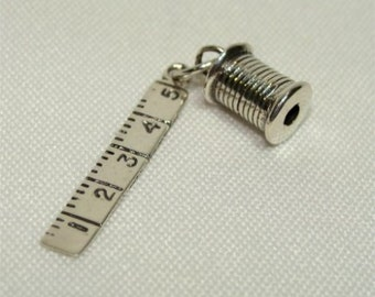 Sterling SEAMSTRESS or Quilter CHARM with Ruler and Thread