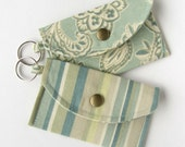 Card Holder Mini Wallet in Teal Stripes and Paisleys