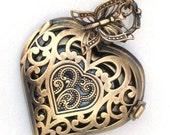 Steampunk - TIME FOR LOVE -  Heart Pocket Watch - Necklace - Antique Brass - Neo Victorian - By GlazedBlackCherry
