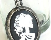 Beautiful Steampunk Cameo Necklace Locket - SKELETON LADY - Vintage Design Antique Silver Setting - Gothic - Jewelry - GlazedBlackCherry