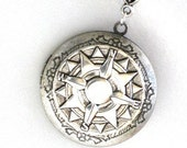 Steampunk - COMPASS LOCKET - Pendant - Necklace - Antique Silver - Neo Victorian - By GlazedBlackCherry