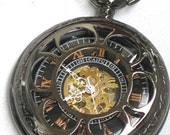 Steampunk - VINTAGE FLOWER Pocket Watch - Mechanical- Jet Black - Necklace - Jet Black - Neo Victorian - GlazedBlackCherry