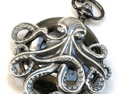Steampunk - OCTOPUS Pocket Watch - Mechanical - Jet Black - Necklace - Nautical - Neo Victorian - By GlazedBlackCherry