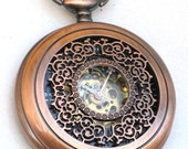 Steampunk - ROSE Gold VICTORIAN LACE Pocket Watch - Mechanical - Necklace - Neo Victorian - By GlazedBlackCherry