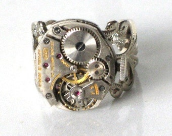 Steampunk - Silver Toned WATCH MOVEMENT RING -  By GlazedBlackCherry