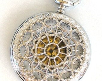 Steampunk - WEB OF LOVE - Pocket Watch - Mechanical - Necklace - White Face - Stainless Steel Silver - Neo Victorian - By GlazedBlackCherry