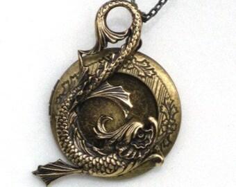 Steampunk - SEA SERPENT LOCKET - Pendant - Necklace - Antique Brass - Neo Victorian - By GlazedBlackCherry
