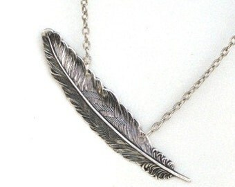 Steampunk FALLEN ANGEL FEATHER Necklace - Antique Silver Pendant - Neo Victorian - GlazedBlackCherry