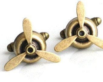 Steampunk  Airplane PROPELLER CUFF LINKS- Rotating Blades - Aviator - Antique Brass - Geekery - By GlazedBlackCherry