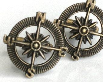 Steampunk ADVENTURER COMPASS Cufflinks - Antique Brass Bronze - Retro - Geekery - By GlazedBlackCherry