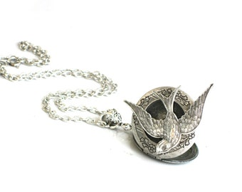 Steampunk BIRD IN FLIGHT Locket Necklace - Antique Silver Pendant - Neo Victorian - By GlazedBlackCherry