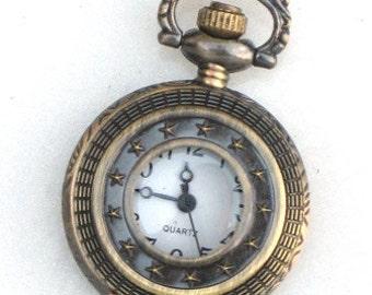 Steampunk - MIDNIGHT STARS Pocket Watch - Necklace - Antique Brass - Neo Victorian - By GlazedBlackCherry