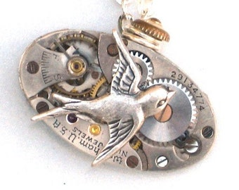 Steampunk - SOARING BIRD Vintage Watch Movement Pendant Necklace - Antique Silver - Neo Vicotirian - By GlazedBlackCherry 1