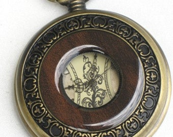 Groomsman Gift Pocket Watch Steampunk - OLD ENGLISH - Mechanical Skeleton Style- Necklace - GlazedBlackCherry