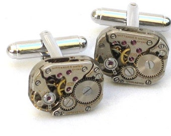 Steampunk - WATCH MOVEMENT CUFFLINKS - Tons of Cogs and Wheels - Vintage Neo Victorian - Rectangle  - GlazedBlackCherry