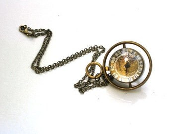 Steampunk Watch Necklace - Time Piece - Pocket Watch is on a Turner - Brass Chain - GlazedBlackCherry