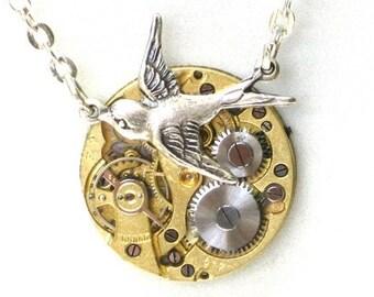 RARE Steampunk - SOARING BIRD Vintage Watch Movement Pendant Necklace - Neo Vicotirian - GlazedBlackCherry 6