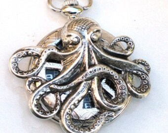 Steampunk - OCTOPUS Pocket Watch - Mechanical - Antique Silver - Necklace - Nautical - Neo Victorian - By GlazedBlackCherry