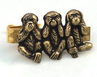 Steampunk -  SPEAK SEE HEAR No Evil - Men's Tie Clip Bar - Monkey - Antique Brass Bronze - By GlazedBlackCherry