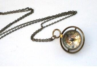 Steampunk Watch Necklace - Time Piece - Mechanical Pocket Watch is on a Turner - Brass Chain - GlazedBlackCherry