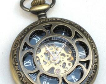 Steampunk - VINTAGE FLOWER Pocket Watch - Mechanical- Antique Brass Bronze - Necklace - Neo Victorian - GlazedBlackCherry -Pre Sale-