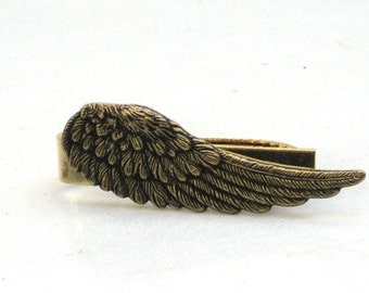 Steampunk ANGEL FEATHER - Men's Tie Bar Clip - Antique Brass - By GlazedBlackCherry