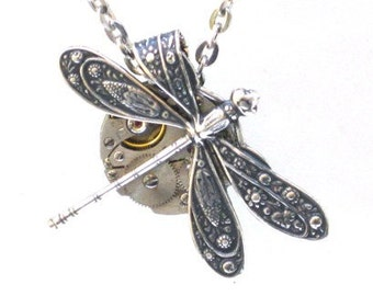 Steampunk - Dazzling DRAGONFLY Necklace- Watch Movement - Gears and Cogs - Antique Silver - NEO VICTORIAN - GlazedBlackCherry