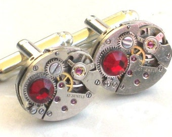 Steampunk - WATCH MOVEMENT CUFFLINKS - Ruby Red Stone - Tons of Cogs and Wheels - Vintage Neo Victorian - GlazedBlackCherry