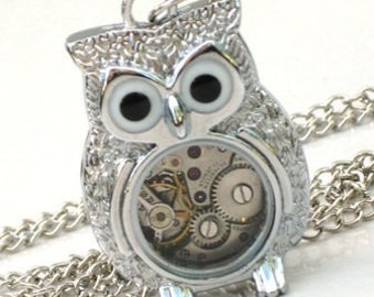 Steampunk - Time Flys MR OWL Pendant- Jeweled Watch Movement - Gears and Cogs - Silver - Neo Victorian - By GlazedBlackCherry-