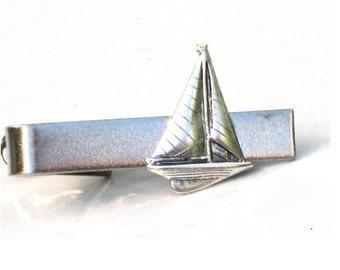Steampunk LETS GO SAILING - Men's Tie Bar Clip - Antique Silver - Steampunk - Boat - Ship - Nautical - Retro Geekery - By GlazedBlackCherry